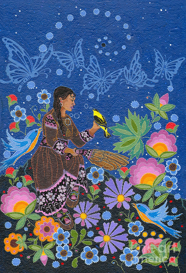 Native Women Painting - Hole In the Skys Daughter by Chholing Taha