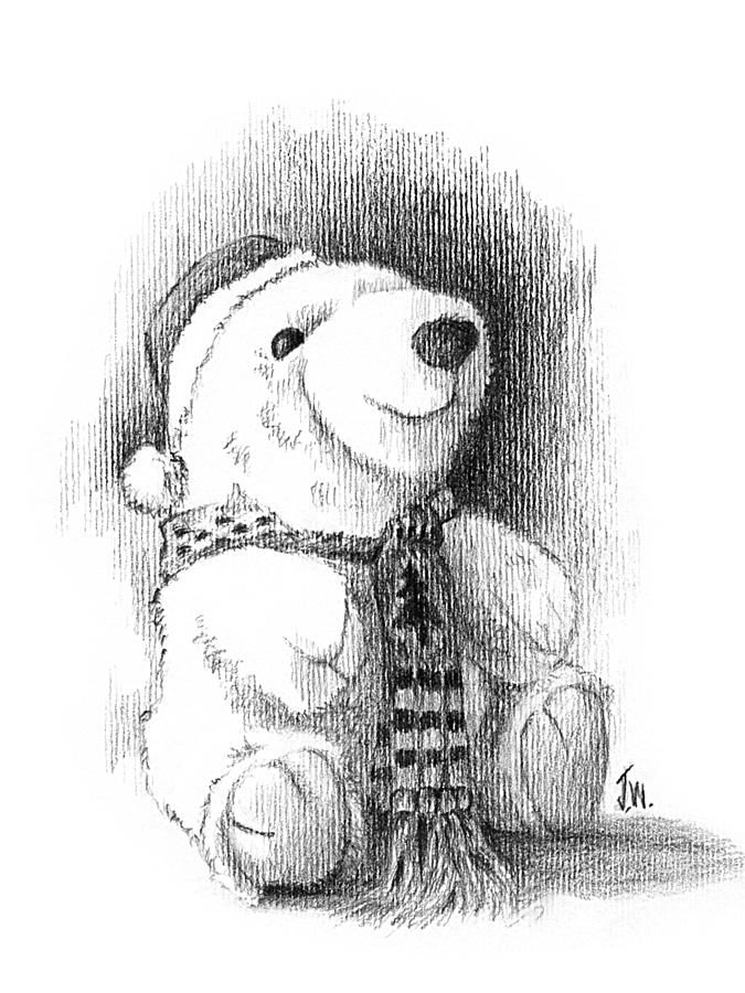 Cute Animal Drawing - Holiday Bear by Joe Winkler