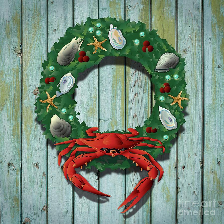 Costal Digital Art - Holiday Crab Wreath by Joe Barsin