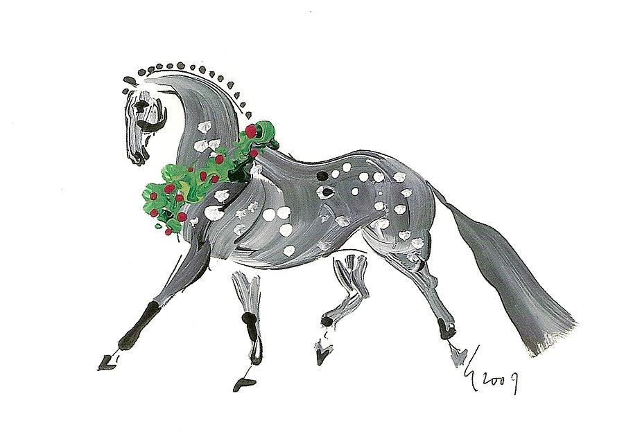 Trotting Horse Painting - Holiday Gray by Liz Pizzo