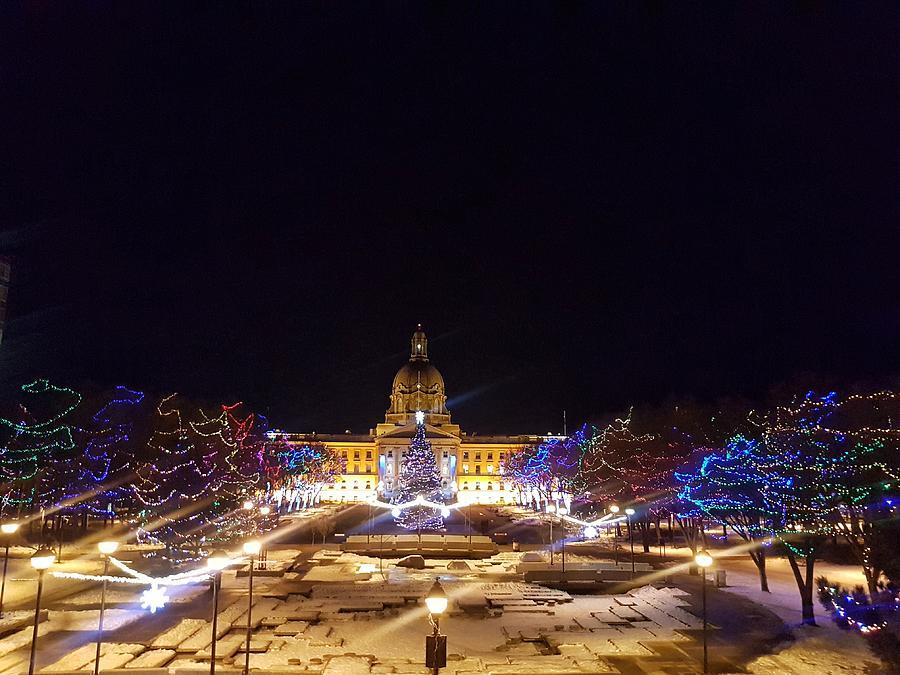 Holiday Lights At The Alberta Legislature Photograph