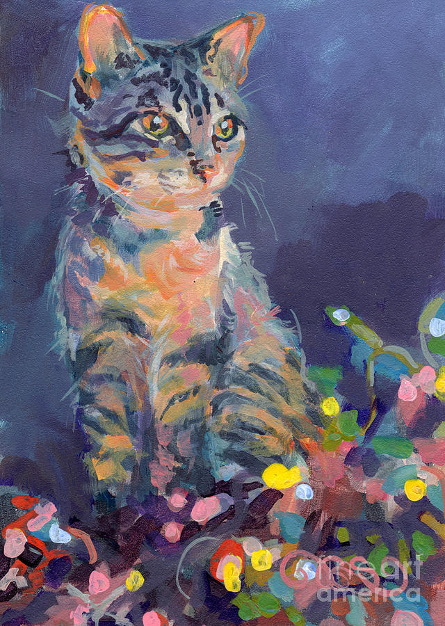 Gray Tabby Painting - Holiday Lights by Kimberly Santini