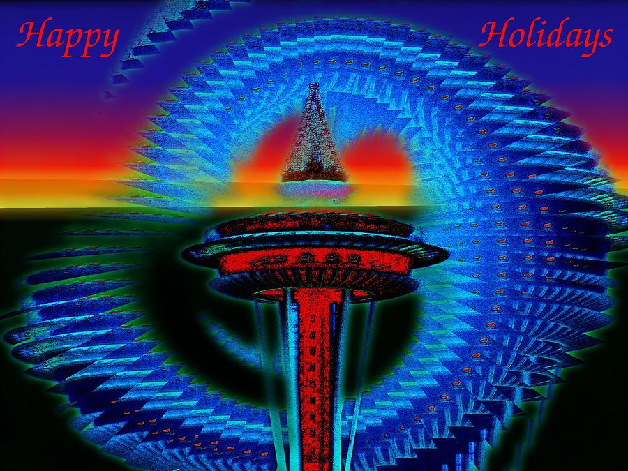 Seattle Photograph - Holiday Needle 2 by Tim Allen