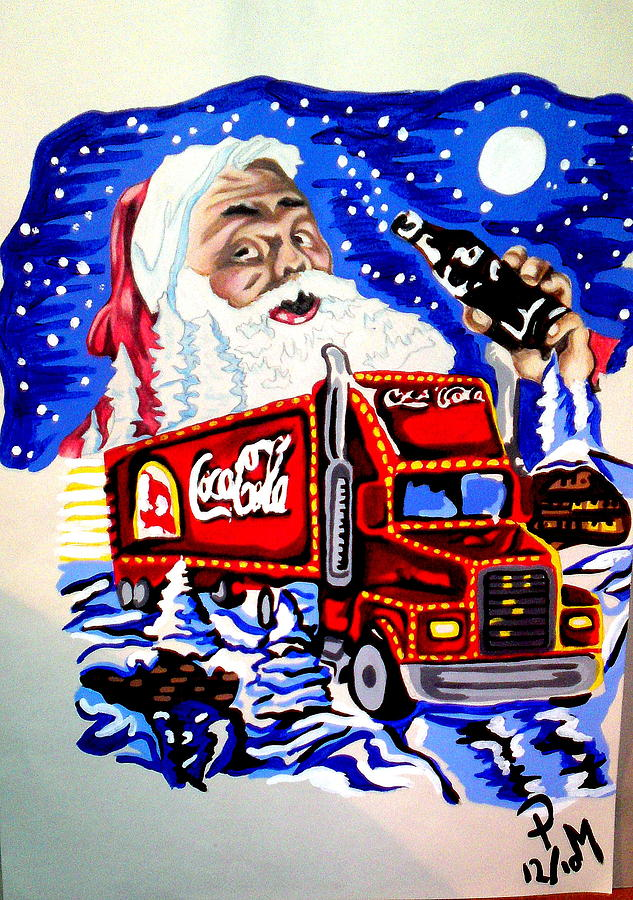 Santa Painting - Holidays Are Coming... by Pauline Murphy