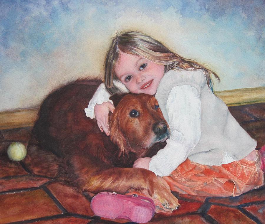 Watercolor Portrait Painting - Hollis and Hannah - cropped version by Mary Beglau Wykes