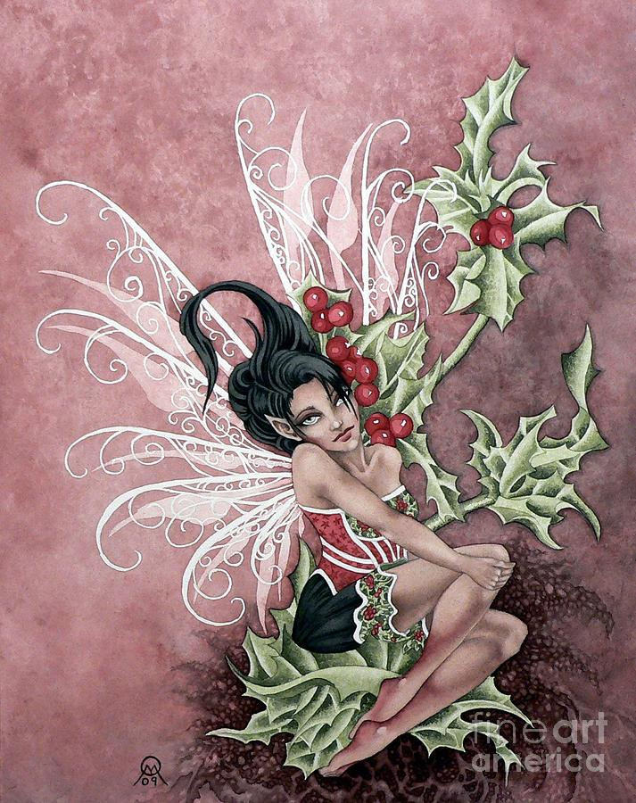 Fantasy Faery Art By Ora Moon Painting - Holly Berry Faery by Ora  Moon