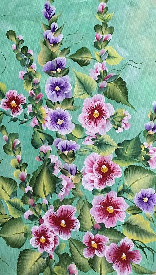 Holly Hocks Painting