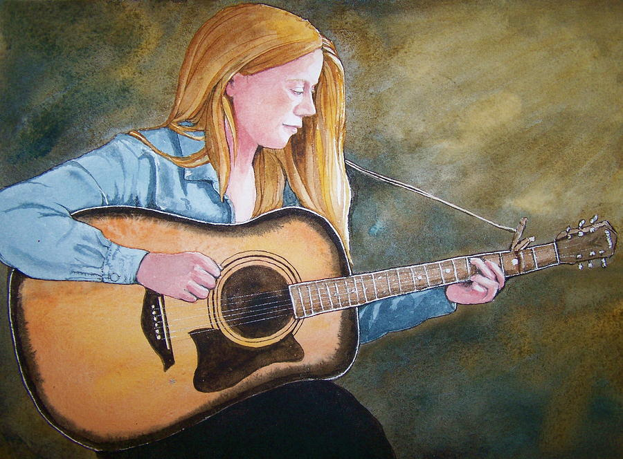 Guitar Painting - Holly by Lynn Babineau