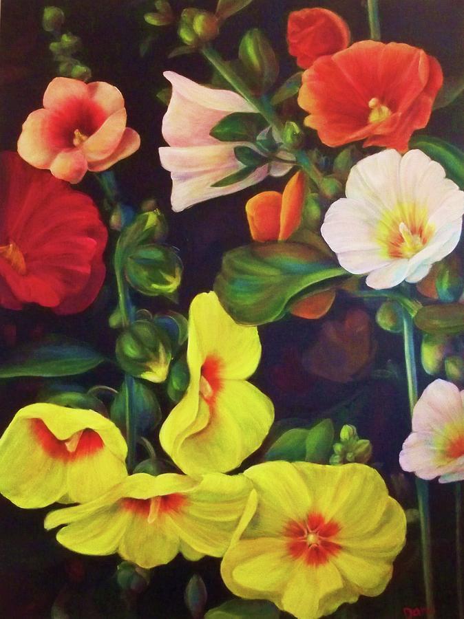 Hollyhocks Painting Painting - Hollyhocks 2 by Dana Redfern