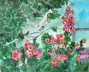 Hollyhocks Painting by Cookie Johnson