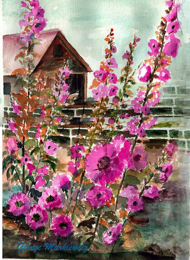 Hollyhocks And Barn Print by George Markiewicz