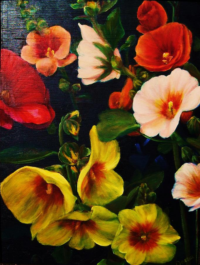 Flowers Painting - Hollyhocks by Dana Redfern