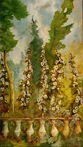 Flowers Painting - Hollyhocks by Glynnis Sorrentino