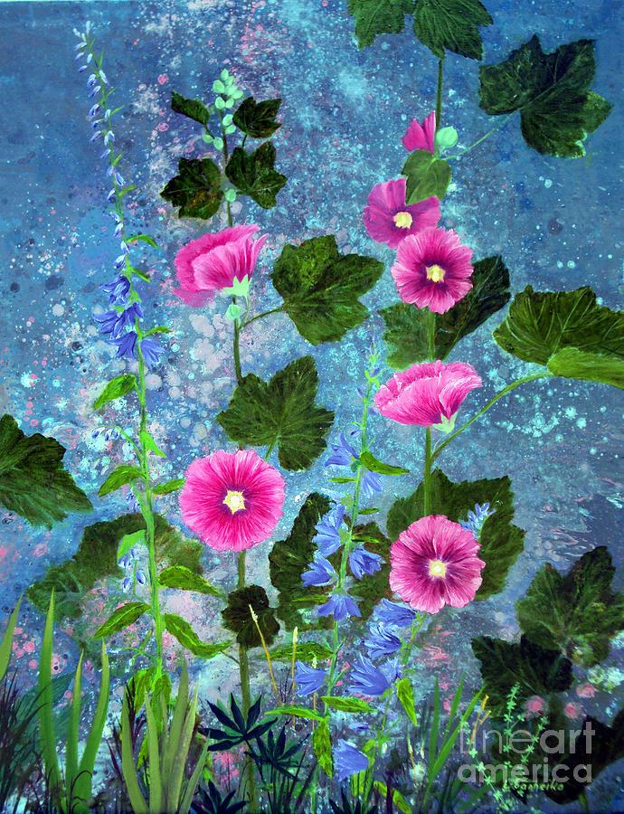 Hollyhocks Painting - Hollyhocks by Laura Tasheiko