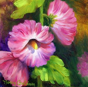Hollyhocks Painting - Hollyhocks by Nancy Goldman
