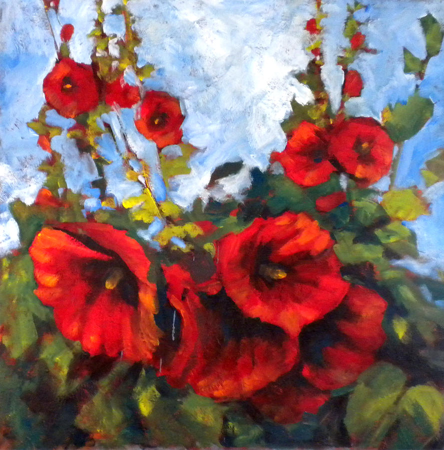Flowers Painting - Hollyhocks by Paula Strother