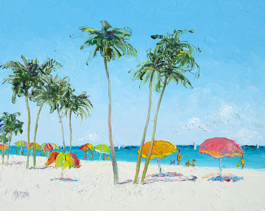 Beach Painting - Hollywood Beach Florida And Coconut Palms by Jan Matson