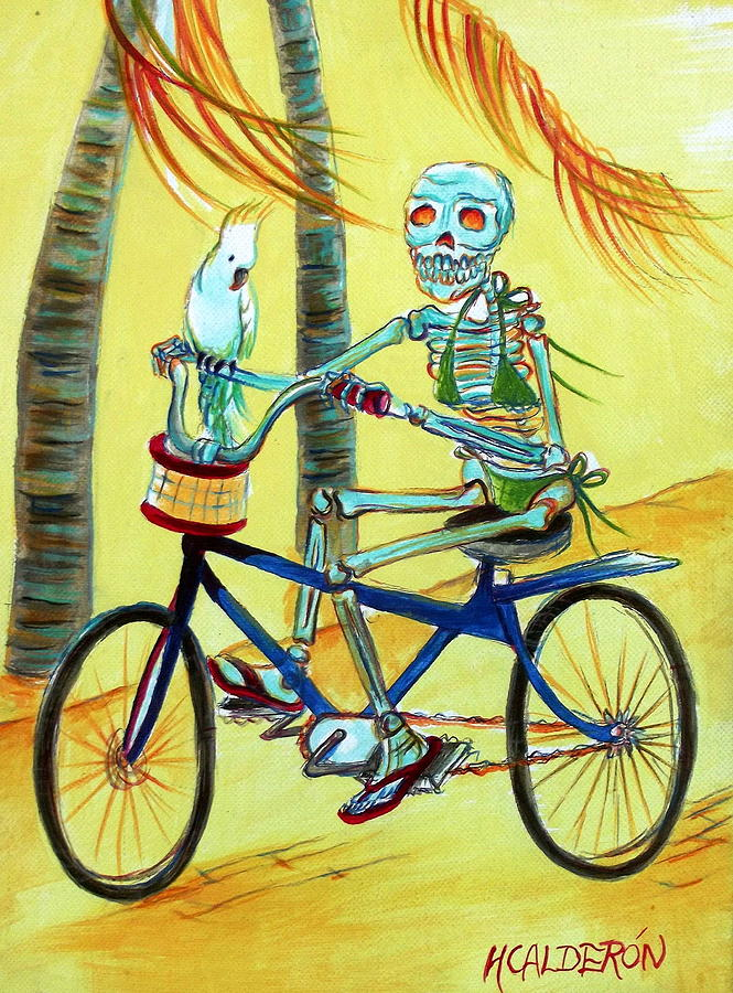 Day Of The Dead Painting - Hollywood Bicycle Woman by Heather Calderon