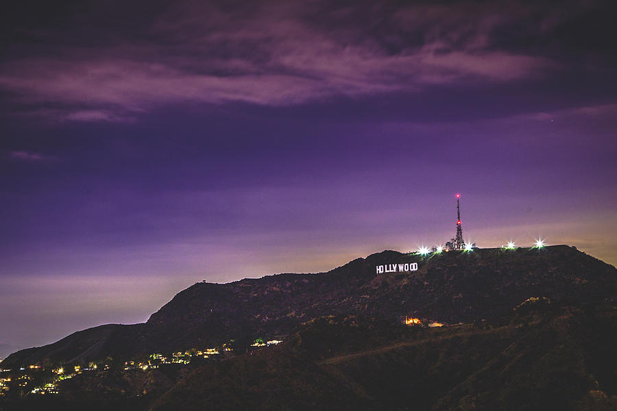 Hollywood Sign Purple Sunset Photograph by Bar Avni