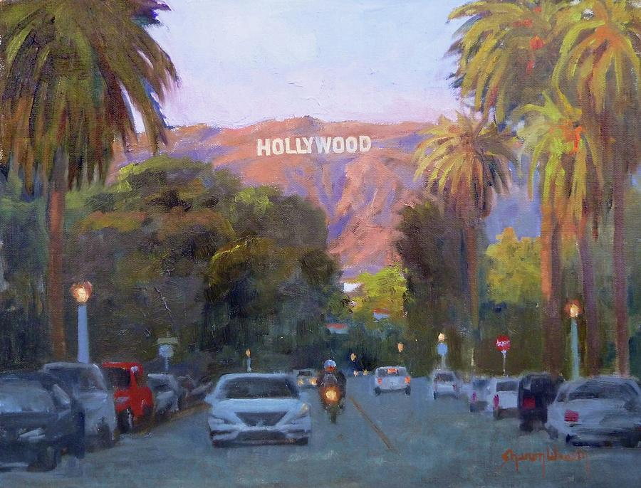 Hollywood Sign Painting - Hollywood Sunset by Sharon Weaver