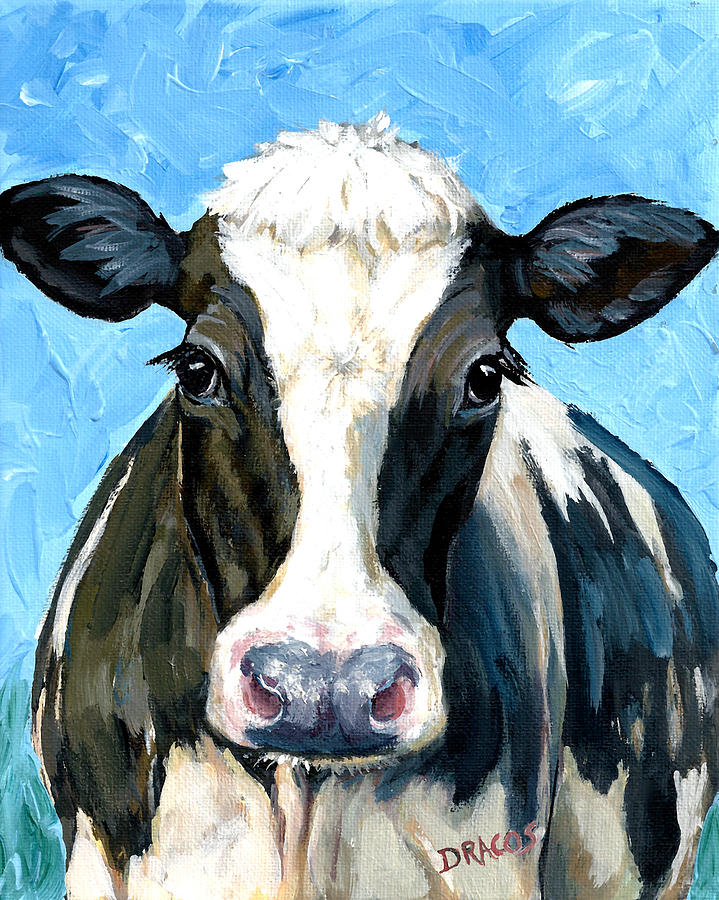 Holstein Cow Painting - Holstein Cow 1 Head And Chest by Dottie Dracos