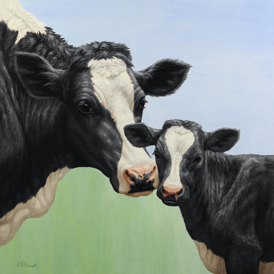Cow Painting - Holstein Cow And Calf by Crista Forest