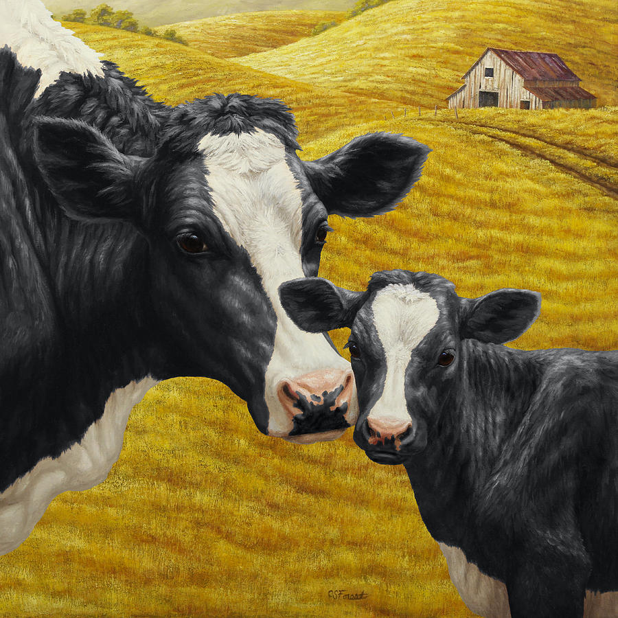 Cow Painting - Holstein Cow And Calf Farm by Crista Forest