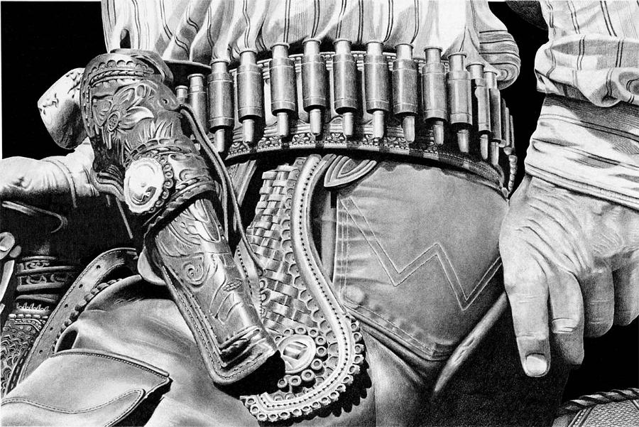 Leather Drawing - Holster Detail by John Bowman