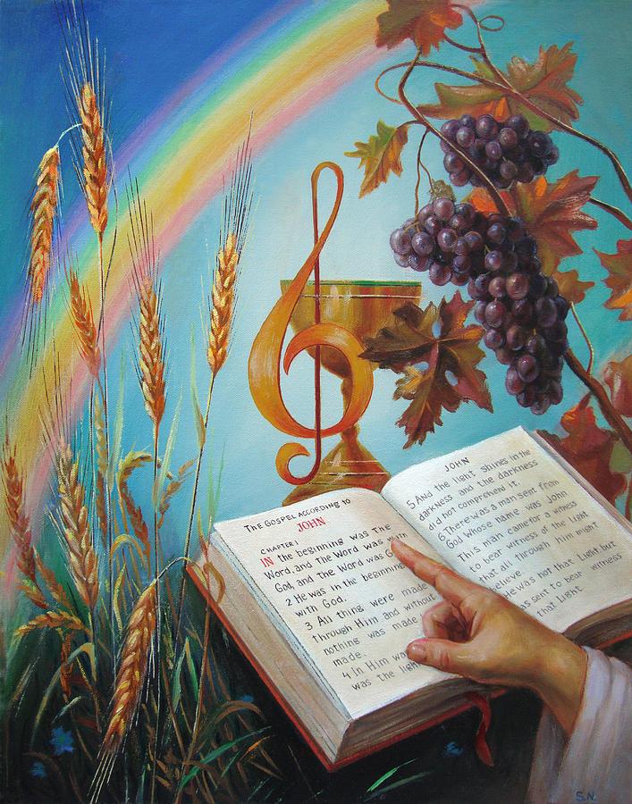 Bibel Painting - Holy Bible - The Gospel According To John by Svitozar Nenyuk