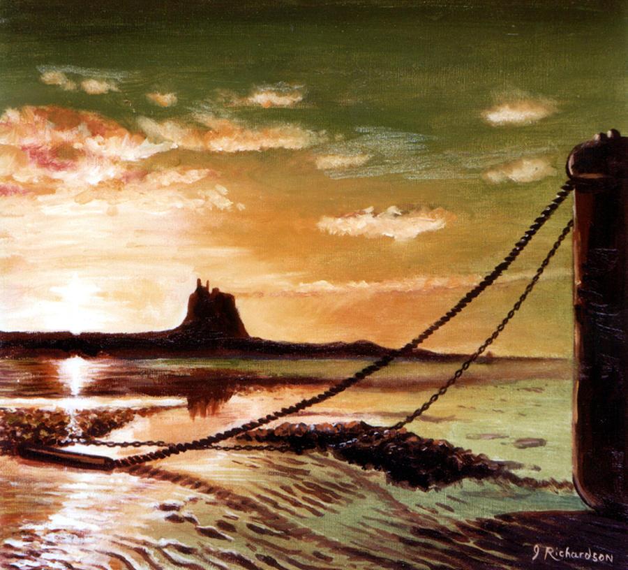 Sunset Painting - Holy Island by James Richardson
