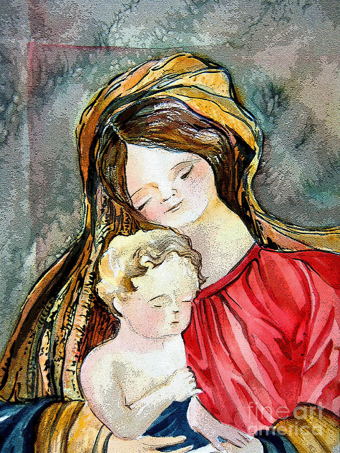 Watercolor Painting - Holy Mother And Child by Mindy Newman