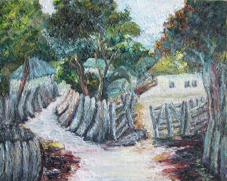 Village Painting - Homage To Nadezda Petrovic by Zoran Markovik