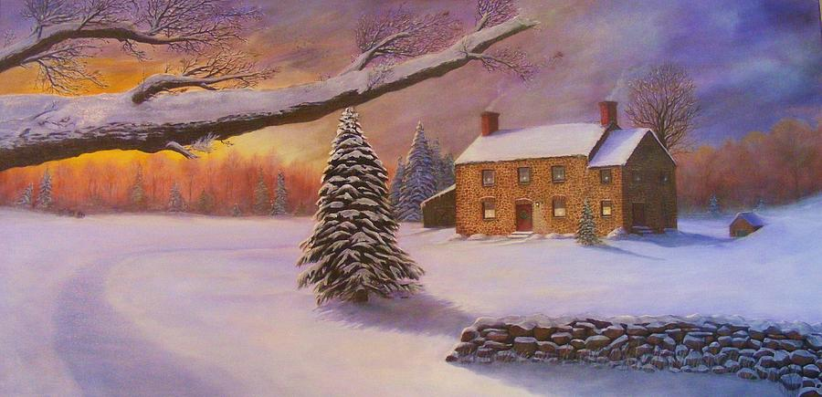 Landscape Painting - Home For The Holidays by Jean LeBaron