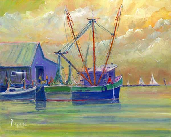 Boat Painting - Home From The Sea by Bob Pittman