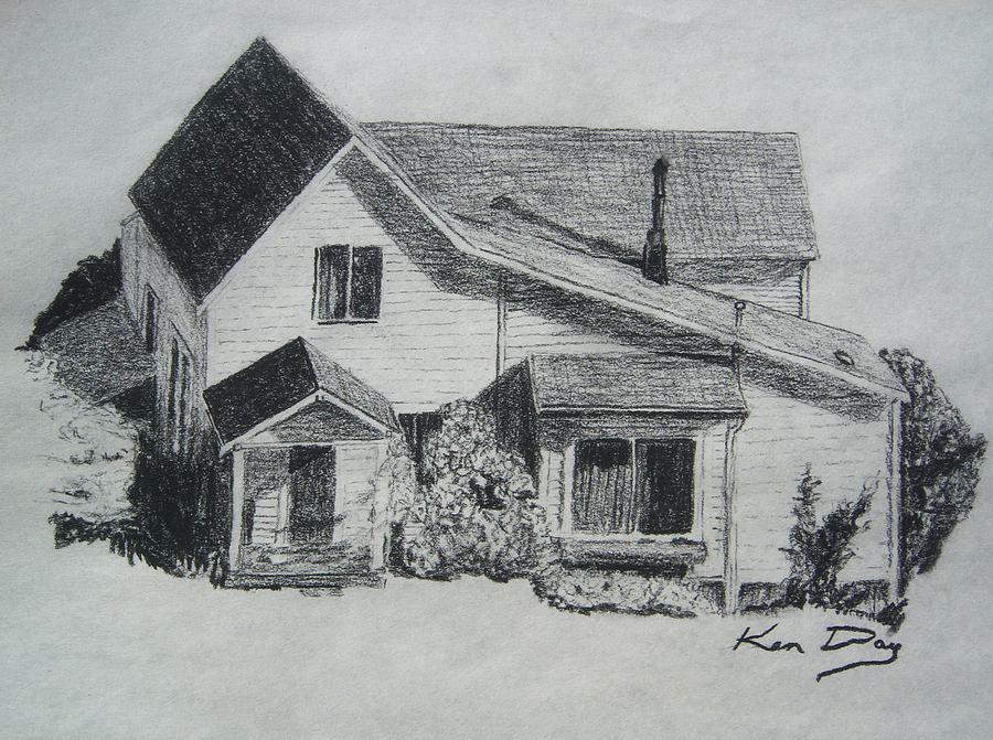 House Drawing - Home by Ken Day