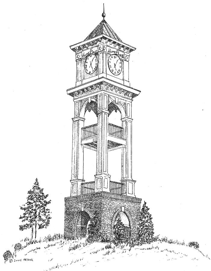 clock tower drawing home place clock tower by barney hedrick