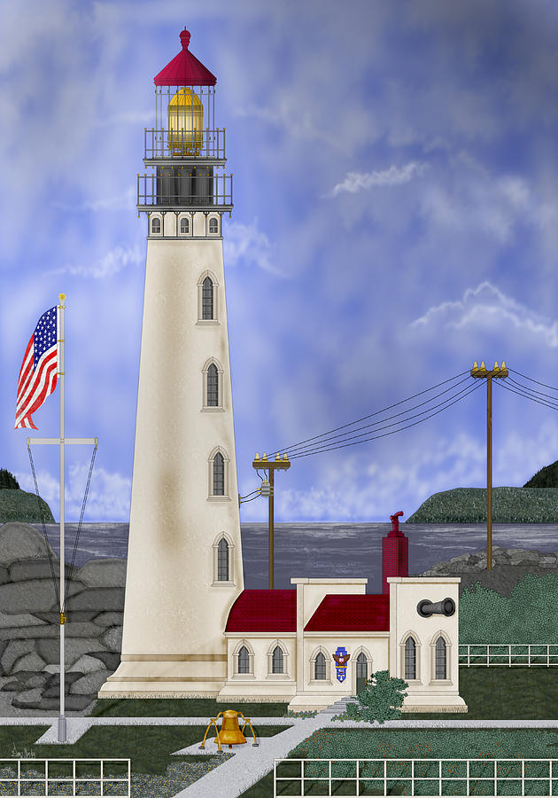Lighthouse Painting - Home Port by Anne Norskog
