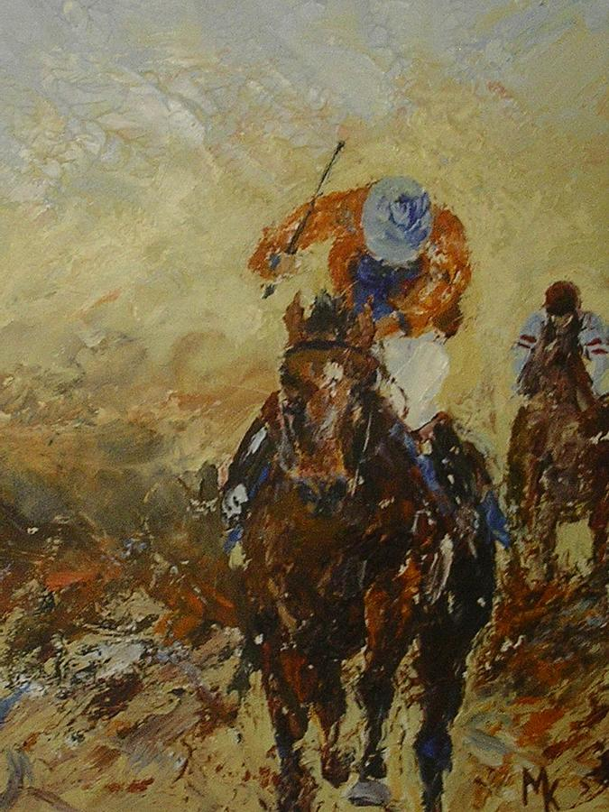 Horse Race Painting - Home Straight by Margaret Kent