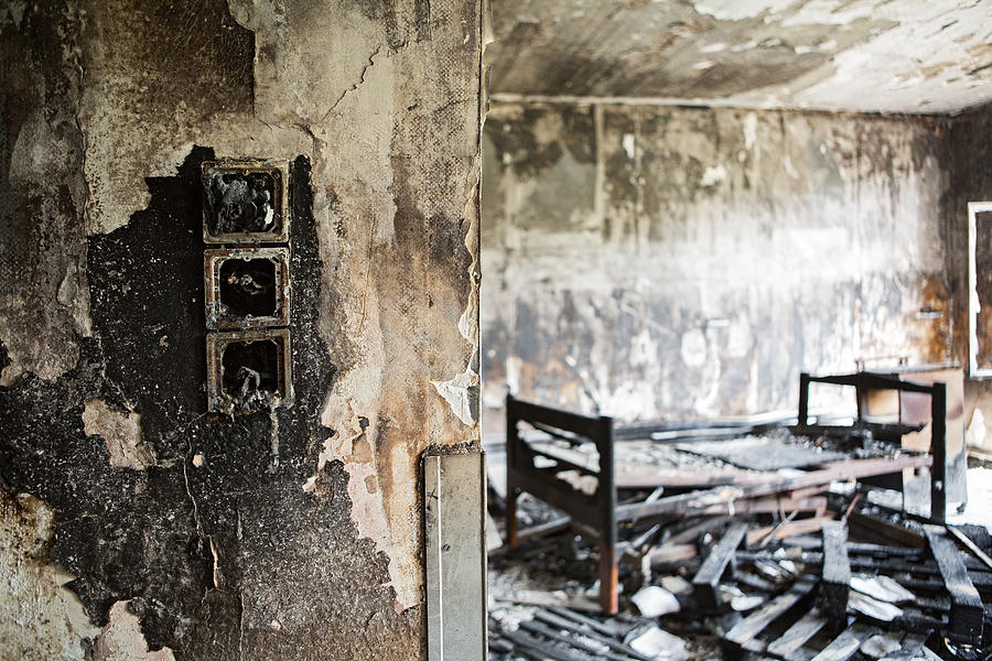 Home Sweet Home Burned Down Room With Bed At Abandoned