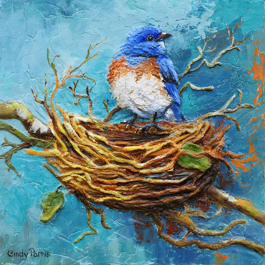 Home sweet home painting - Bird Painting Home Sweet Home By Cindy Parris