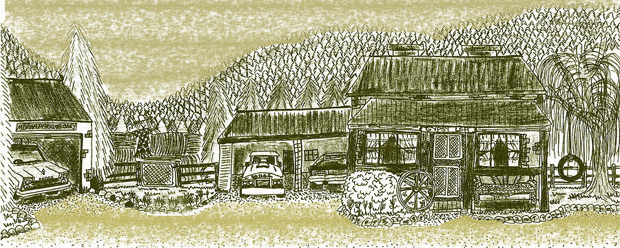 Cottage Drawing - Home Sweet Home by Diana-Lee Saville