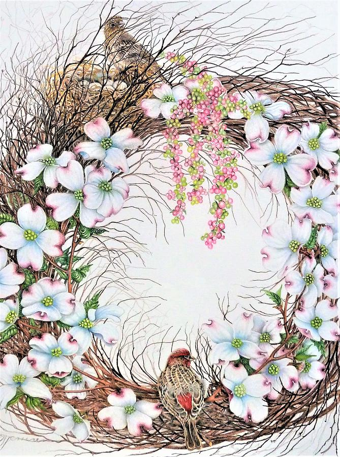 Dogwood Blossoms Drawing - Home Sweet Home by Sally Jenne Keefe