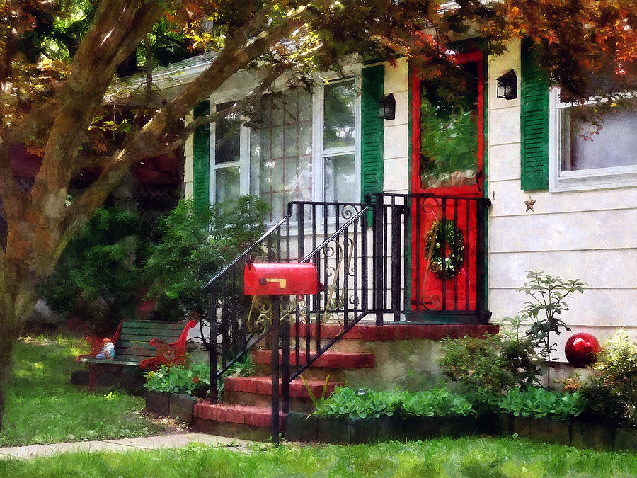 Front Door Photograph - Home That Always Celebrates Christmas by Susan Savad
