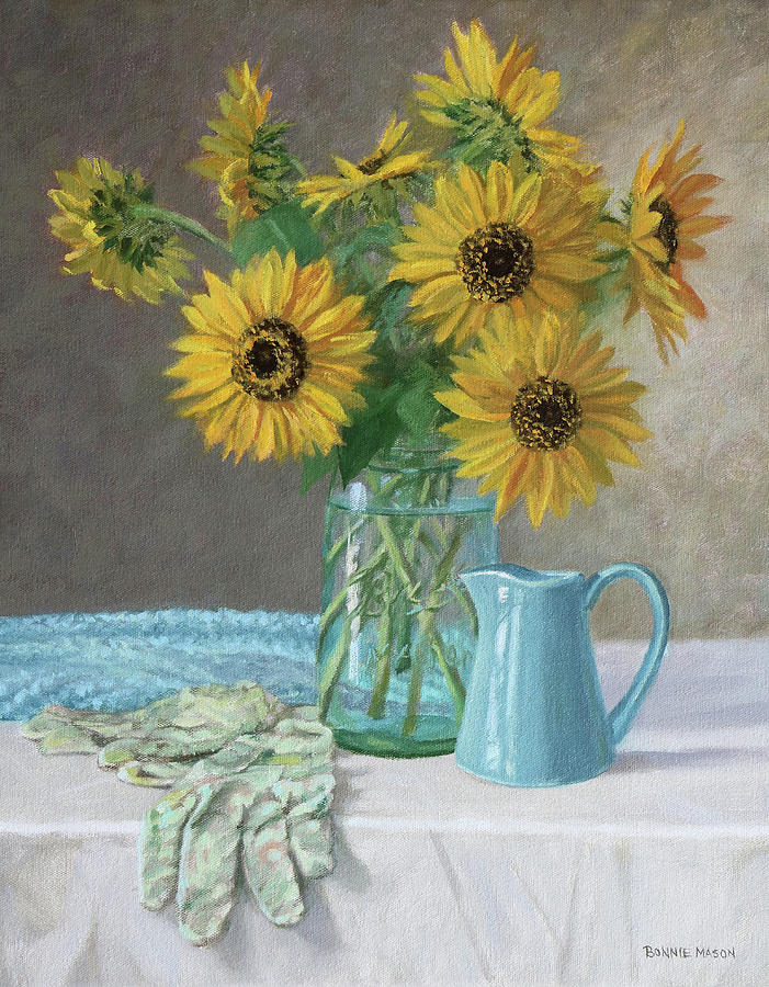 Bonnie Mason Painting - Homegrown - Sunflowers In A Mason Jar With Gardening Gloves And Blue Cream Pitcher by Bonnie Mason