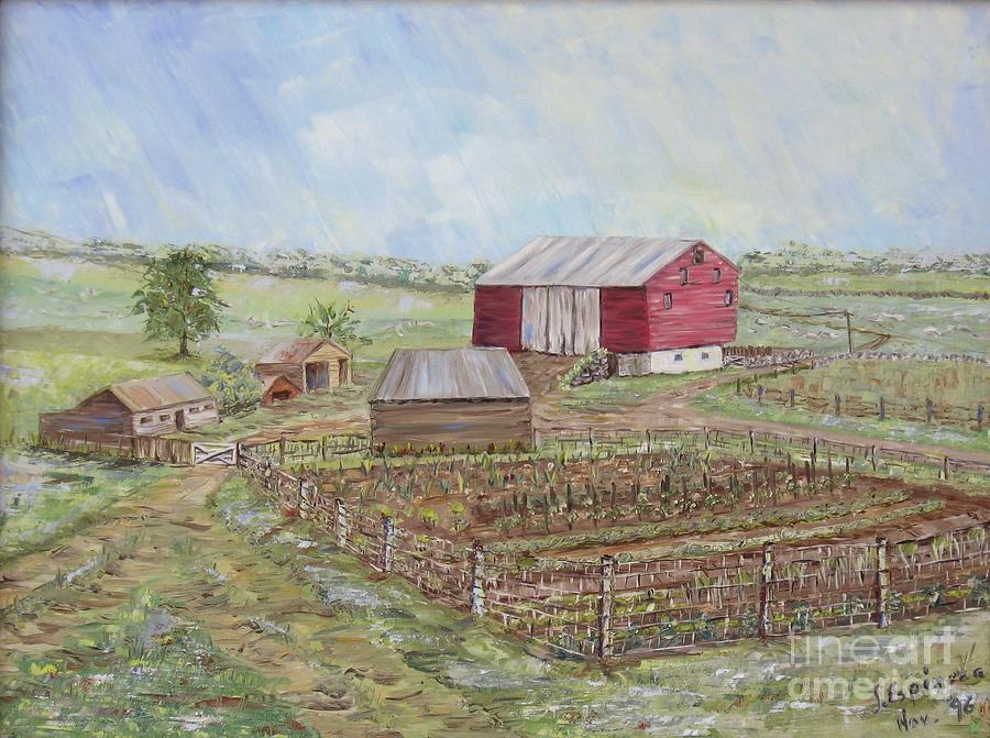 Homeplace - The Barn And Vegetable Garden Painting by Judith Espinoza