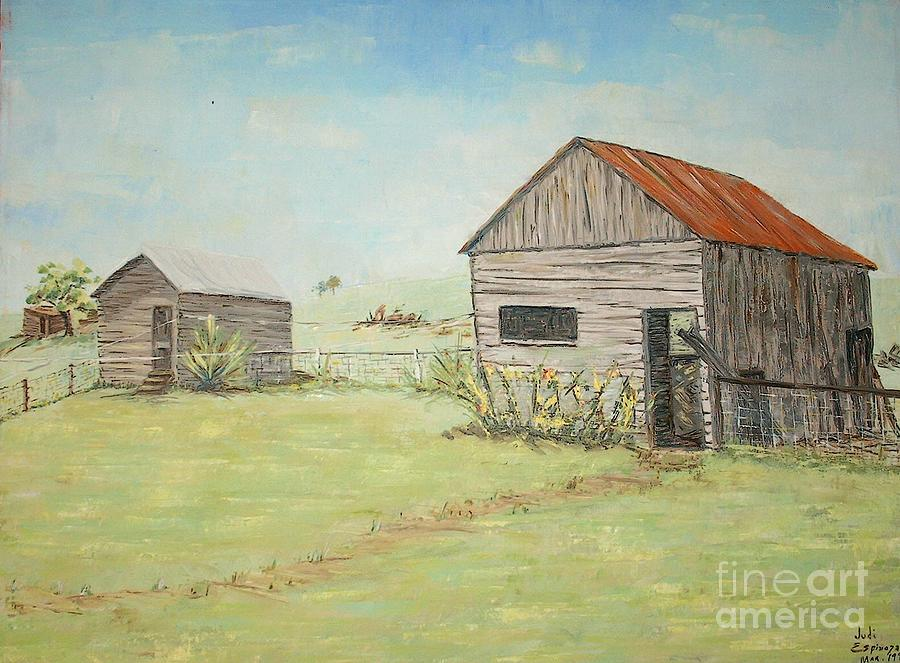 Homeplace - The Smokehouse And Woodhouse Painting by Judith Espinoza