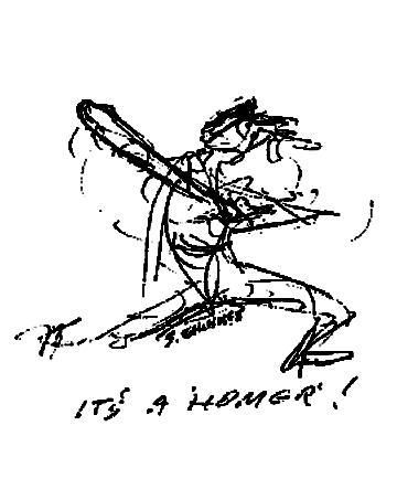 Baseball Drawing - Homer by Sam Chinkes