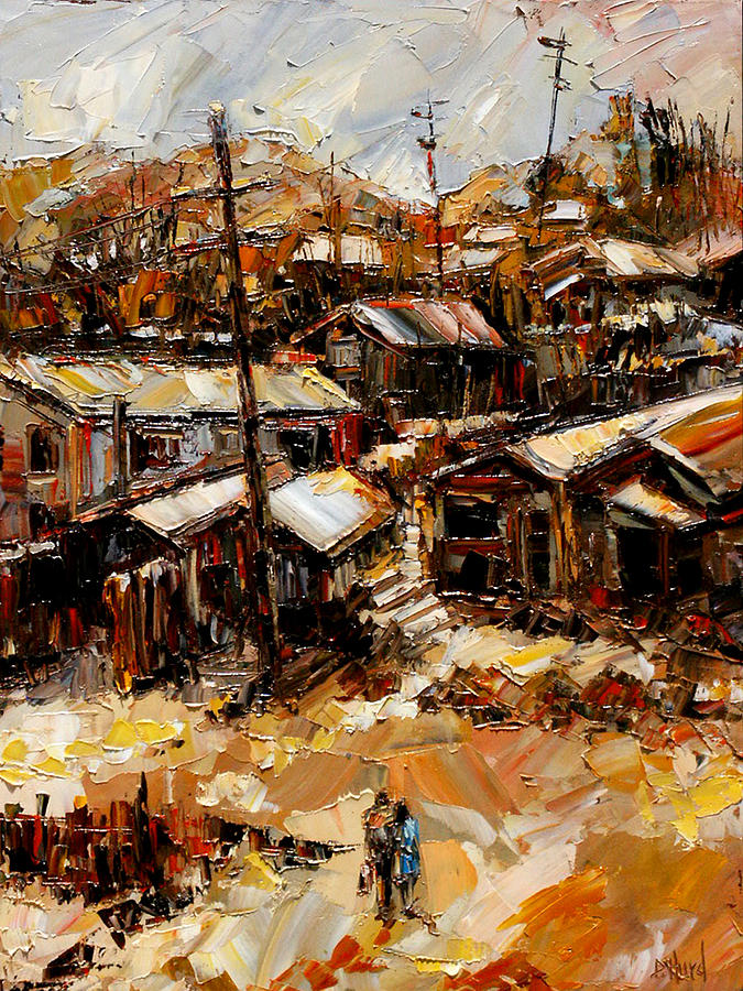 Landscape Painting - Homes In The Hills  Chaves Revine by Debra Hurd