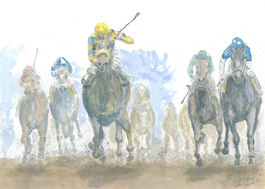 Horse Race Painting - Homestretch by Dan Bozich