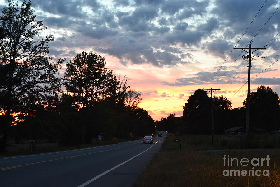 Landscape Photograph - Homeward Bound Evening Sky by Karen Francis